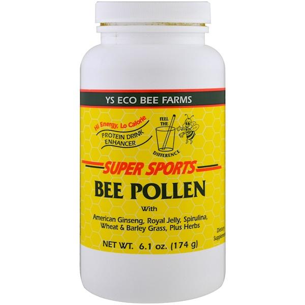 Y、S、 Eco Bee Farms, Super Sports,蜂花粉,蛋白飲料,6、1 盎司(174 克)