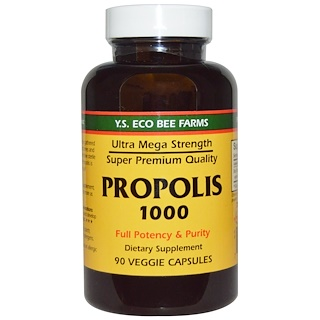 Y.S. Eco Bee Farms, Propolis 1000, 500 mg, 90 gélules végétales