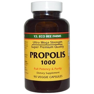Y.S. Eco Bee Farms, Propolis 1000، 500 mg, 90 كبسولة نباتية