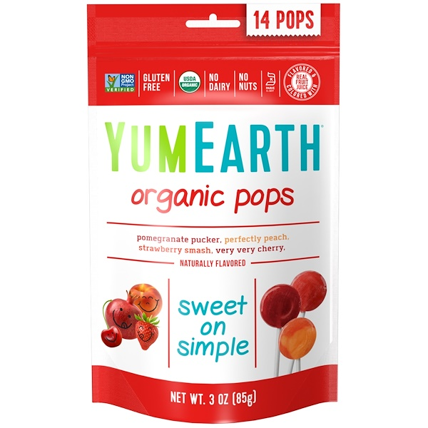 YumEarth, Organic Pops, Assorted Flavors, 14 Pops, 3 oz (85 g)