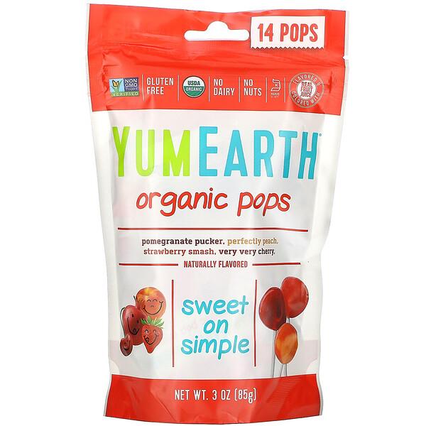 YumEarth, Organic Pops, מבחר טעמים, 14 סוכריות, 85 גר' (3 oz)