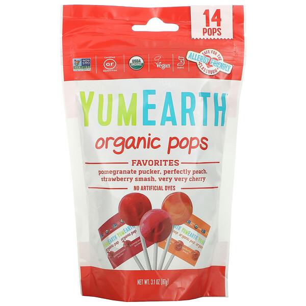 Organic Pops, Favorites, 14 Pops, 3.1 oz (87 g)