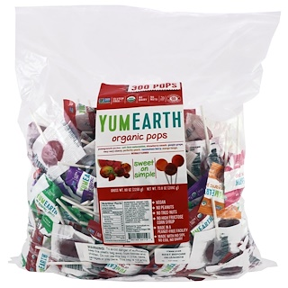 YumEarth, Organic Pops, Assorted Fruits Flavor, 300 Pops, 80 oz (2268 g)