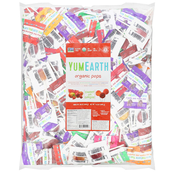 YumEarth, Organic Pops, Assorted Fruits Flavors, 300 Pops, 73.8 oz (2092 g)