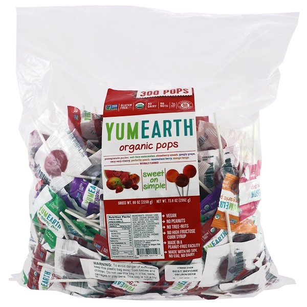 YumEarth, Organic Pops, Assorted Fruits Flavors, 300 Pops, 5 lbs (2268 g)