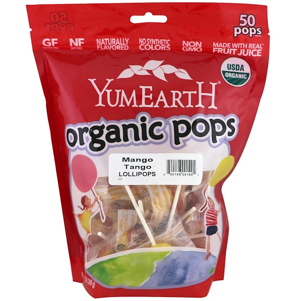 YumEarth, Organic Pops, Mango Tango, 50 Pops Approx., 12.3 oz (349 g) (Discontinued Item)