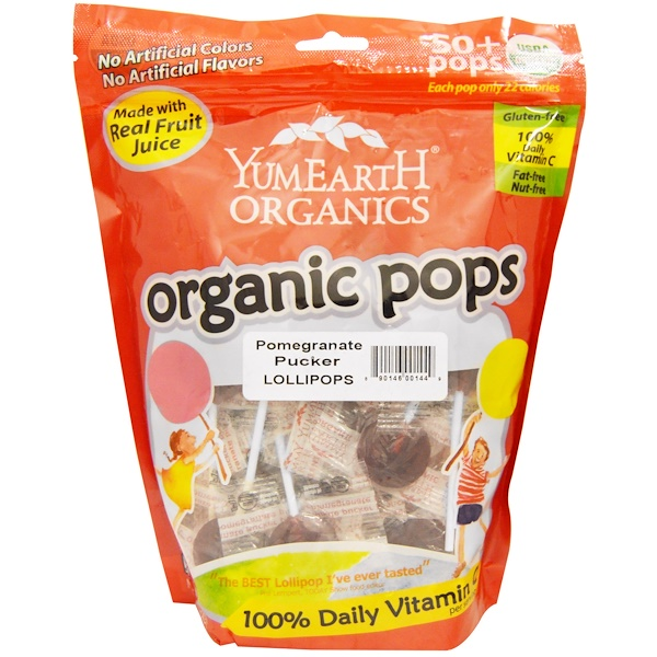 YumEarth, Organic Pops, Pomegranate Pucker Lollipops, 50+ Pops, 12.3 oz (349 g) (Discontinued Item)