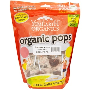 Ям Ерт, Organic Pops, Pomegranate Pucker Lollipops, 50+ Pops, 12.3 oz (349 g) отзывы покупателей