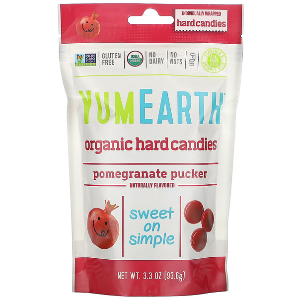 Organic Hard Candies, Pomegranate Pucker, 3.3 oz (93.6 g)