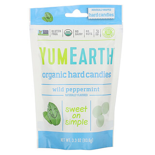 YumEarth, Organic Hard Candies, Wild Peppermint, 3.3 oz (93.6 g)