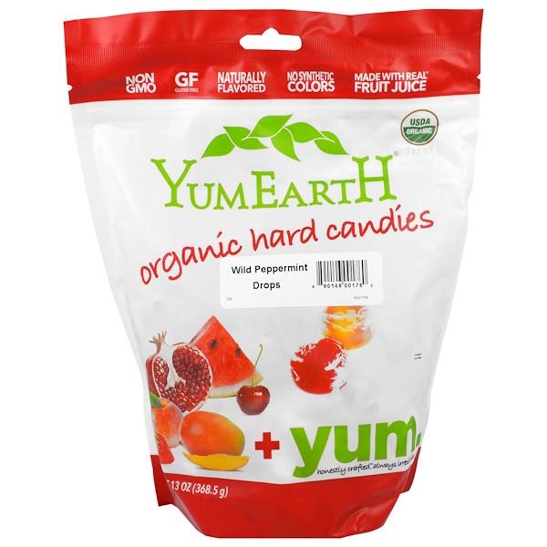 YumEarth, オーガニックキャンディドロップ, ファミリーサイズバッグ, ワイルドペパーミント, 13オンス (369 g) (Discontinued Item)
