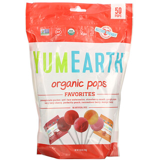YumEarth, Paletas orgánicas, Sabores favoritos, 50paletas, 310g (10,9oz)