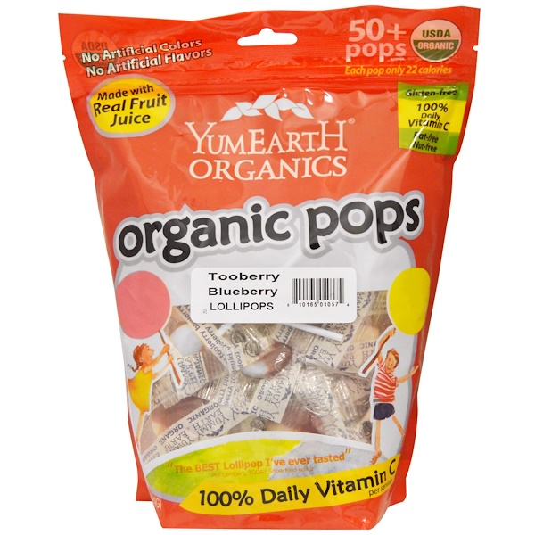 YumEarth, Organic Pops, Tooberry Blueberry Lollipops, 50+ Pops approx, 12.3 oz (349 g) (Discontinued Item)