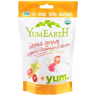 YumEarth, Organic Vitamin C Drops、Citrus Grove、 3.3オンス (93.5 g)