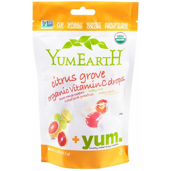 YumEarth, Organic Vitamin C Drops, Citrus Grove, 3.3 oz (93.5 g)