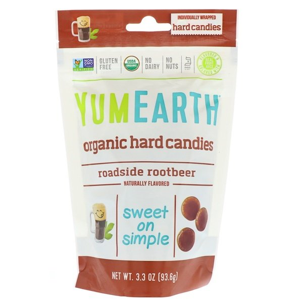 YumEarth, Organic Hard Candies, Roadside Root Beer, 3.3 oz (93.6 g) (Discontinued Item)
