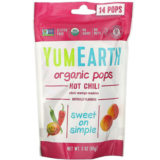 YumEarth, Organic Hot Chili Pops, Chili Mango Mambo, 14 Pops, 3 oz (85 g)