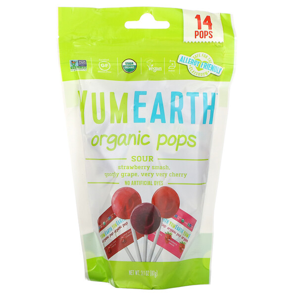 Organics, Sour Pops, Assorted Flavors, 14 Pops, 3 oz (85 g)