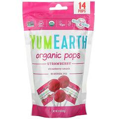 YumEarth, 有機草莓棒棒糖,草莓味,14 根,3.1 盎司(87 克)