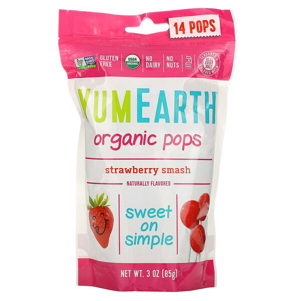 Organic Strawberry Pops, Strawberry Smash, 14 Pops, 3 oz (85 g)