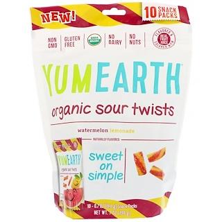 YumEarth, オーガニックサワーツイスト、スイカレモネード、スナックパック10袋、各0.7 oz (19.8 g)