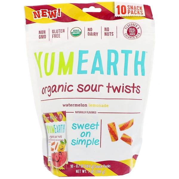 YumEarth, Organic Sour Twists,西瓜檸檬水,10包,每包0、7盎司(19、8克)