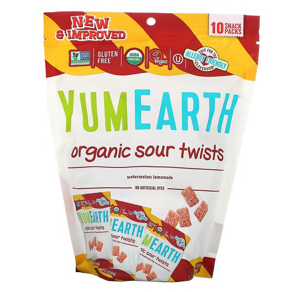 YumEarth, Organic Sour Twists, Watermelon Lemonade, 10 Snack Packs, 0.7 oz (19.8 g) Each