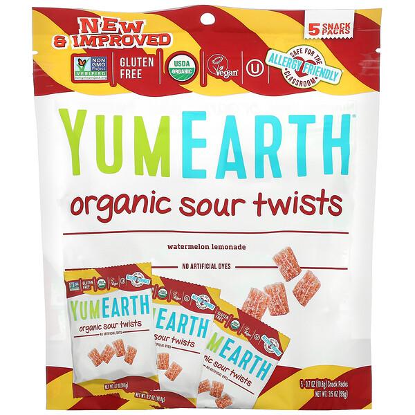 YumEarth, Organic Sour Twists, Watermelon Lemonade, 5 Snack Packs, 0.7 oz (19.8 g) Each