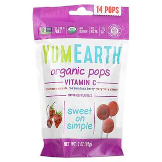 YumEarth, Organic Pops, Vitamin C, Strawberry Smash, Razzmatazz Berry, Very Very Cherry, 14 Pops, 3 oz (85 g)