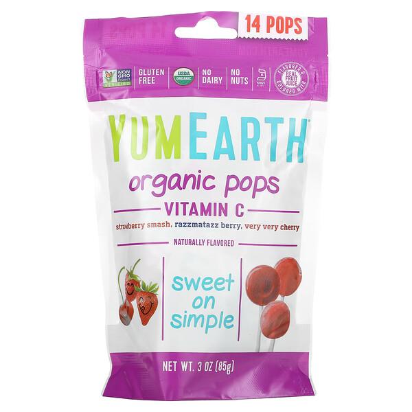 Organic Pops, Vitamin C, Strawberry Smash, Razzmatazz Berry, Very Very Cherry, 14 Pops, 3 oz (85 g)