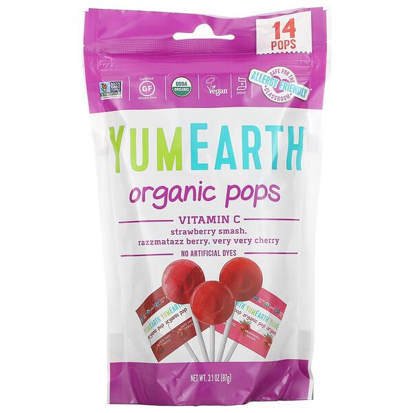 Organic Pops, Vitamin C, Strawberry Smash, Razzmatazz Berry, Very Very Cherry, 14 Pops, 3.1 oz (87 g)