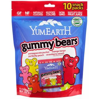 YumEarth, Gummy Bears, Assorted  Flavors, 10 Snack Packs, 25.5 g Each