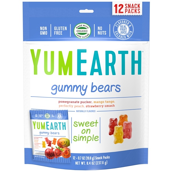 YumEarth, Gummy Bears, Assorted  Flavors, 12 Snack Packs, 0.7 oz (19.8 g) Each (Discontinued Item)