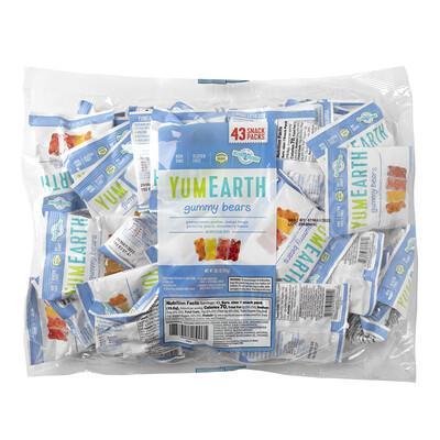YumEarth Жевательные медвежата, ассорти, 43порционных упаковки, 19,8г (0,7 унции) в каждой