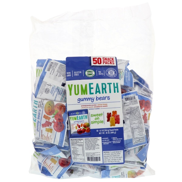 YumEarth, Gummy Bears, Assorted Flavors, 50 Snack Packs, 0.7 oz (19.8 g) Each