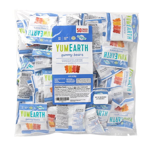YumEarth, Gummy Bears, Assorted Flavors, 50 Snack Packs, 0.7 oz (19.8 g) Each
