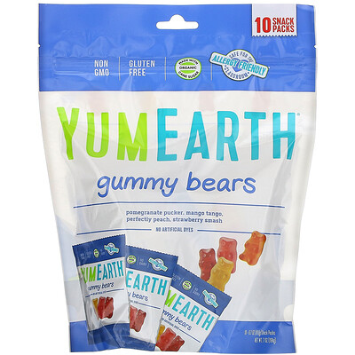 YumEarth жевательные мишки, ассорти, 10порционных упаковок по 19, 8г (0, 7унции)  - купить со скидкой