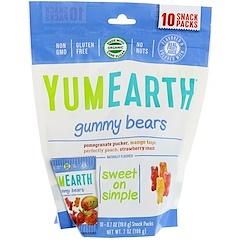 YumEarth, الدببة الغائرة، نكهات متنوعة، 10 علب من الوجبات الخفيفة، 0.7 أونصة (19.8 غ) لكل علبة