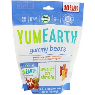 YumEarth, Gummy Bears, Assorted Flavors, 10 Snack Packs, 0.7 oz (19.8 g) Each