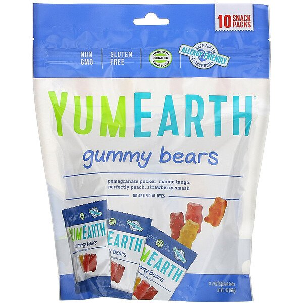 Gummy Bears, Assorted Flavors, 10 Snack Packs, 0.7 oz (19.8 g) Each