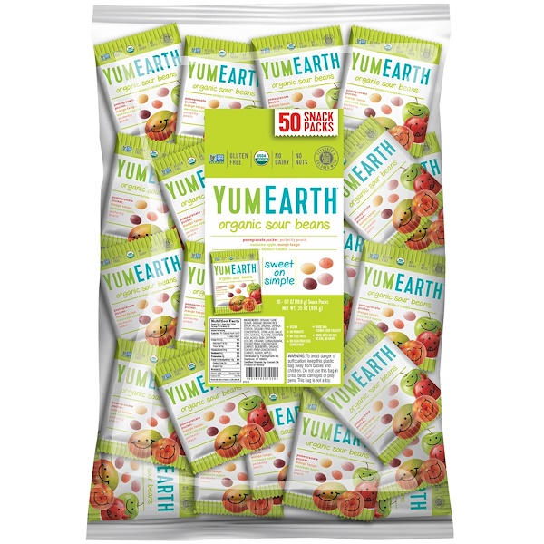 YumEarth, Sour Jelly Beans, Snack Pack (Bulk), 50 Snack Packs, 20 g Each