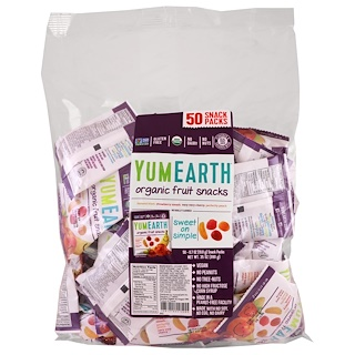YumEarth, Organic Fruit Snacks, Banana Blast, Strawberry Smash, Very Very Cherry, Perfectly Peach, 50 Snack Packs, .7 oz (19.8 g) Each