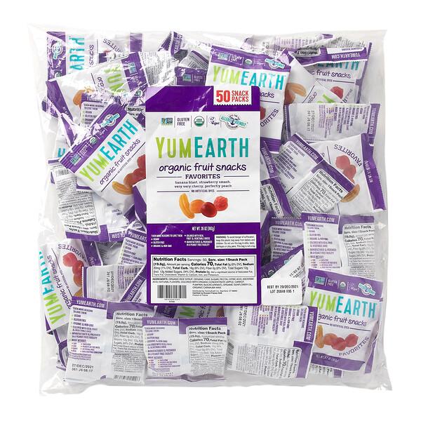 Organic Fruit Snacks, Banana Blast, Strawberry Smash, Very Very Cherry, Perfectly Peach, 50 Snack Packs, .7 oz (19.8 g) Each