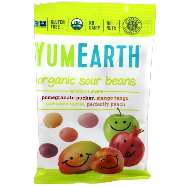 YumEarth, Organic Sour Beans, 12 Packs, 2.5 oz (71 g) Each (Discontinued Item)