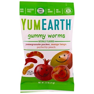 YumEarth, Gummy Worms, Assorted Flavors, 12 Packs, 2.5 oz (71 g) Each