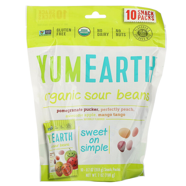 YumEarth, Organic Sour Beans, 10 Snack Packs, 0.7 oz (19.8 g) Each