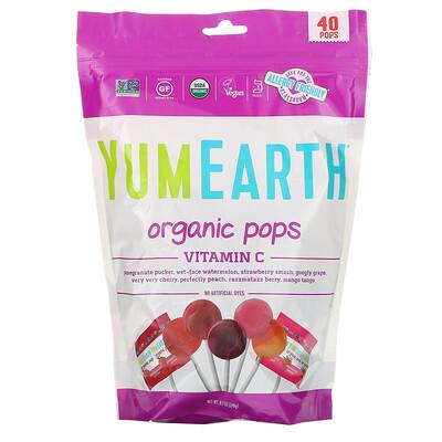 Купить YumEarth Органические леденцы, витамин C, ассорти вкусов, 40 леденцов, 8, 5 унц. (241 г)
