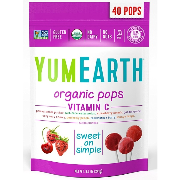 YumEarth, Organic Pops, Vitamin C, Assorted Flavors, 40 Pops, 8.5 oz (241 g)