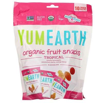 Купить YumEarth Органические фруктовые снеки, тропические фрукты, 10упаковок, 17, 6г в каждой