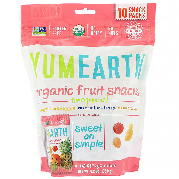 YumEarth, Snacks de fruta orgánica, tropical, 10 packs, 17,6 g (0,62 oz) cada uno